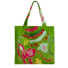Green Organic Abstract Zipper Grocery Tote Bag by DanaeStudio