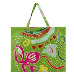 Green Organic Abstract Zipper Large Tote Bag by DanaeStudio