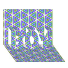 Colorful Retro Geometric Pattern Boy 3d Greeting Card (7x5) by DanaeStudio