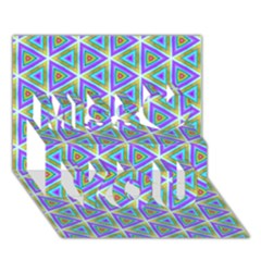 Colorful Retro Geometric Pattern Miss You 3d Greeting Card (7x5) by DanaeStudio