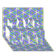 Colorful Retro Geometric Pattern Take Care 3d Greeting Card (7x5) by DanaeStudio