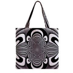 Black And White Ornamental Flower Grocery Tote Bag by designworld65