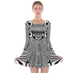 Black And White Ornamental Flower Long Sleeve Skater Dress by designworld65