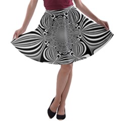 Black And White Ornamental Flower A Line Skater Skirt by designworld65