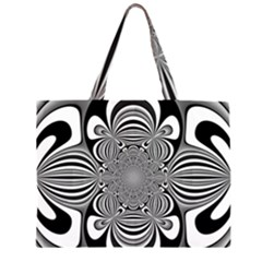 Black And White Ornamental Flower Large Tote Bag by designworld65