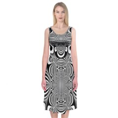 Black And White Ornamental Flower Midi Sleeveless Dress by designworld65