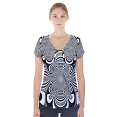 Black And White Ornamental Flower Short Sleeve Front Detail Top by designworld65