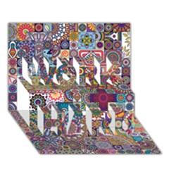 Ornamental Mosaic Background Work Hard 3d Greeting Card (7x5) by TastefulDesigns