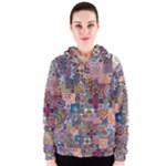 Ornamental Mosaic Background Women s Zipper Hoodie