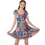 Ornamental Mosaic Background Cap Sleeve Dresses