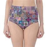 Ornamental Mosaic Background High-Waist Bikini Bottoms