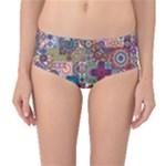 Ornamental Mosaic Background Mid-Waist Bikini Bottoms