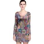 Ornamental Mosaic Background Long Sleeve Velvet Bodycon Dress