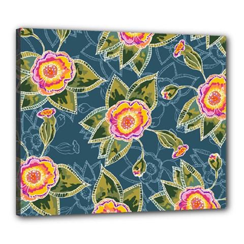 Floral Fantsy Pattern Canvas 24  X 20  by DanaeStudio