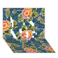 Floral Fantsy Pattern Love 3d Greeting Card (7x5) by DanaeStudio