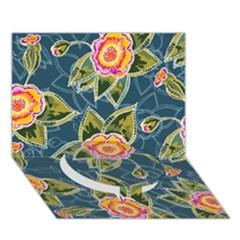 Floral Fantsy Pattern Circle Bottom 3d Greeting Card (7x5) by DanaeStudio