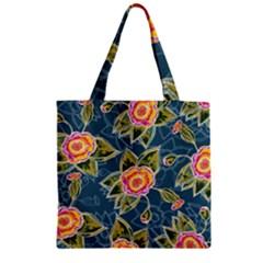 Floral Fantsy Pattern Zipper Grocery Tote Bag by DanaeStudio