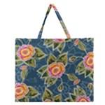 Floral Fantsy Pattern Zipper Large Tote Bag