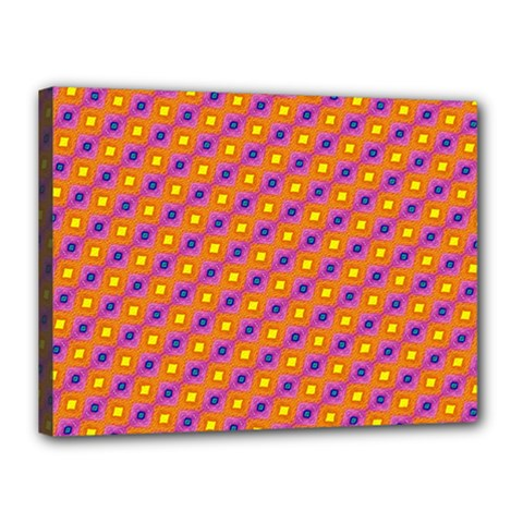 Vibrant Retro Diamond Pattern Canvas 16  X 12  by DanaeStudio