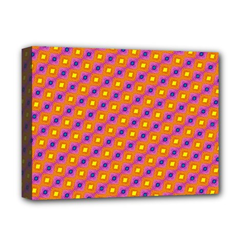 Vibrant Retro Diamond Pattern Deluxe Canvas 16  X 12   by DanaeStudio