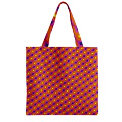 Vibrant Retro Diamond Pattern Grocery Tote Bag by DanaeStudio