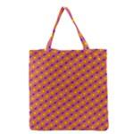 Vibrant Retro Diamond Pattern Grocery Tote Bag