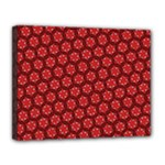 Red Passion Floral Pattern Canvas 14  x 11