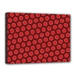 Red Passion Floral Pattern Canvas 16  x 12