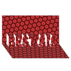 Red Passion Floral Pattern Best Sis 3d Greeting Card (8x4) by DanaeStudio