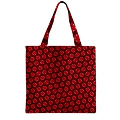 Red Passion Floral Pattern Grocery Tote Bag by DanaeStudio