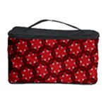 Red Passion Floral Pattern Cosmetic Storage Case