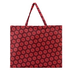 Red Passion Floral Pattern Zipper Large Tote Bag by DanaeStudio