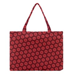 Red Passion Floral Pattern Medium Tote Bag by DanaeStudio