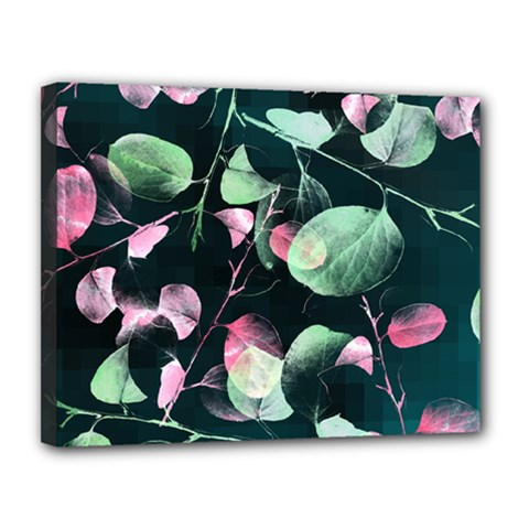 Modern Green And Pink Leaves Canvas 14  X 11  by DanaeStudio