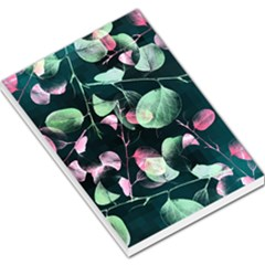 Modern Green And Pink Leaves Large Memo Pads by DanaeStudio