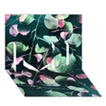 Modern Green And Pink Leaves I Love You 3D Greeting Card (7x5)