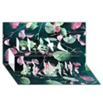 Modern Green And Pink Leaves Best Friends 3D Greeting Card (8x4)