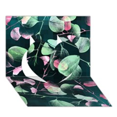 Modern Green And Pink Leaves Heart 3d Greeting Card (7x5) by DanaeStudio