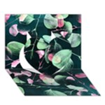 Modern Green And Pink Leaves Heart 3D Greeting Card (7x5)