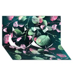Modern Green And Pink Leaves Twin Hearts 3d Greeting Card (8x4) by DanaeStudio
