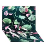 Modern Green And Pink Leaves LOVE Bottom 3D Greeting Card (7x5)