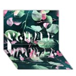 Modern Green And Pink Leaves YOU ARE INVITED 3D Greeting Card (7x5)
