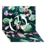 Modern Green And Pink Leaves Peace Sign 3D Greeting Card (7x5)