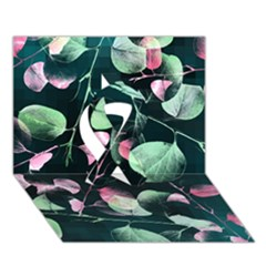 Modern Green And Pink Leaves Ribbon 3d Greeting Card (7x5) by DanaeStudio
