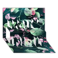 Modern Green And Pink Leaves You Did It 3d Greeting Card (7x5) by DanaeStudio