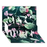 Modern Green And Pink Leaves Get Well 3D Greeting Card (7x5)