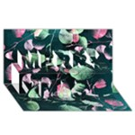 Modern Green And Pink Leaves Merry Xmas 3D Greeting Card (8x4)