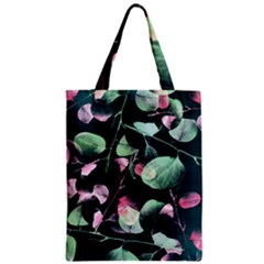 Modern Green And Pink Leaves Zipper Classic Tote Bag by DanaeStudio