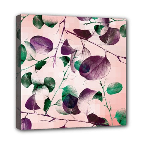 Spiral Eucalyptus Leaves Mini Canvas 8  X 8  by DanaeStudio