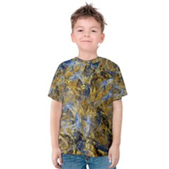Antique Anciently Gold Blue Vintage Design Kids  Cotton Tee by designworld65